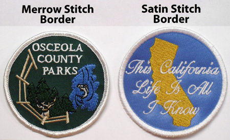 Example showing morrow stitching and satin stitch borders.
