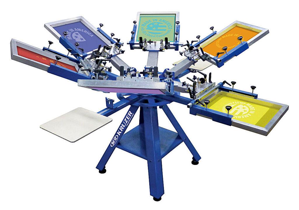 A typical screen printing press machine.