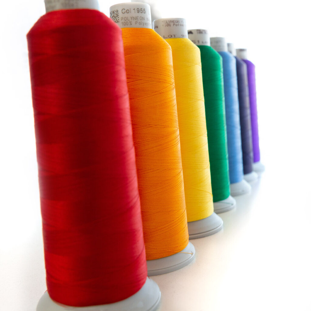 Embroidery threads, rainbow colors, red, orange, yellow, green, blue, indigo, violet