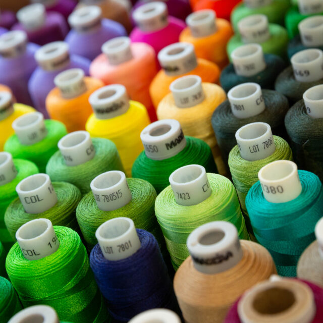 Spools of multiple brightly colored embroidery threads.