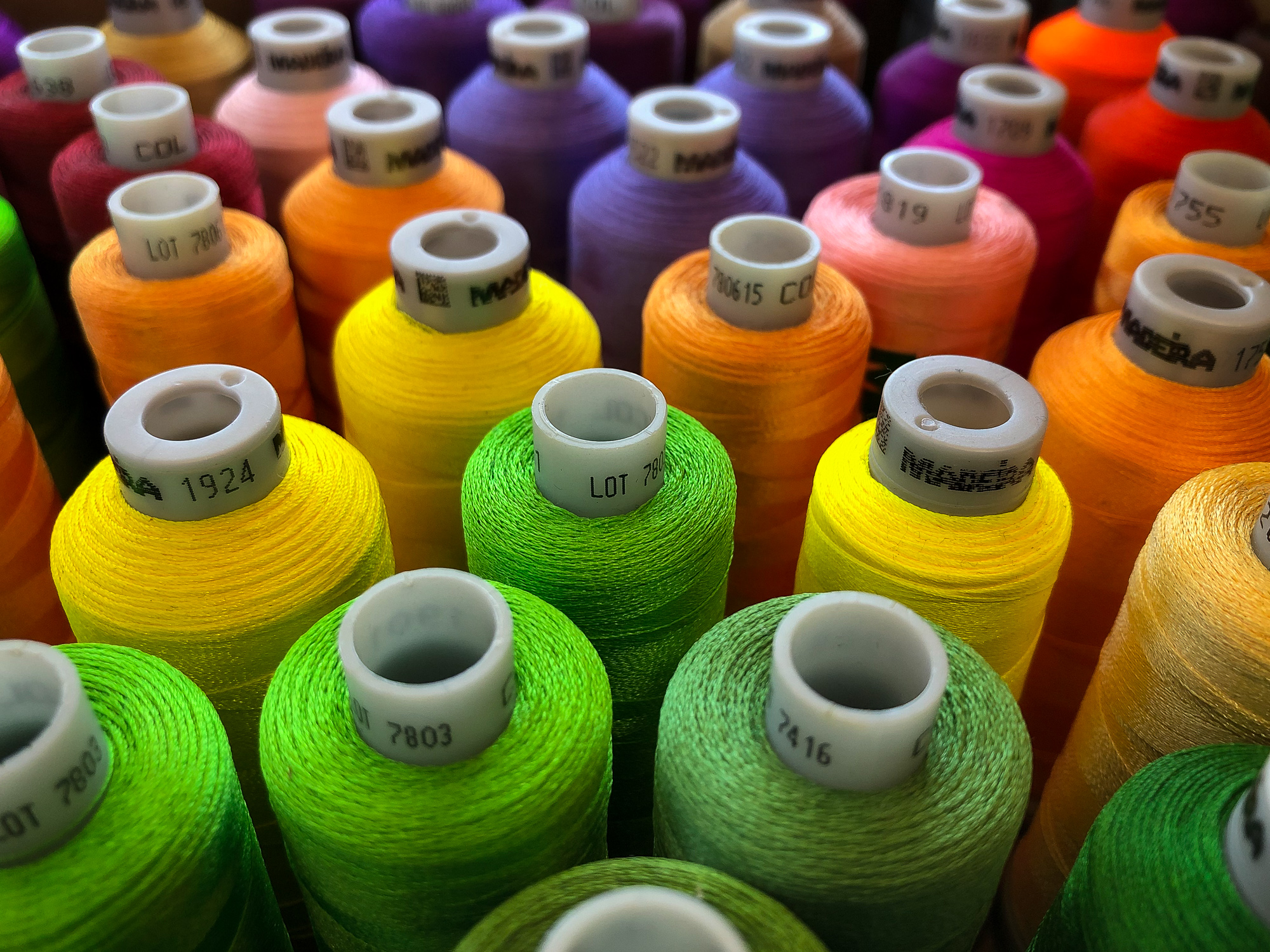 Embroidery threads, multiple colors