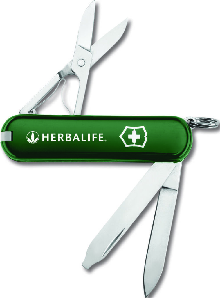 Swiss Army knife with Herbalife logo