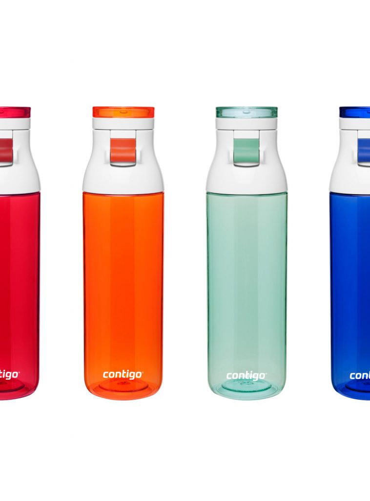 Four plastic Contigo bottles
